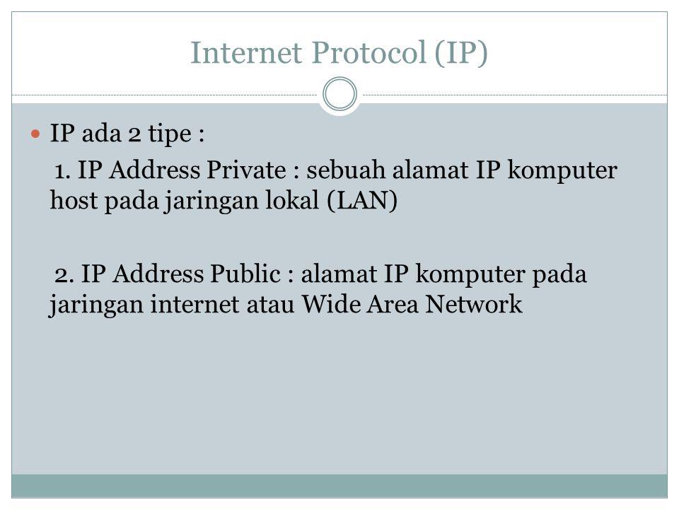 Internet Protocol (IP) IP ada 2 tipe : 1. IP Address Private : sebuah alamat IP komputer host pada jaringan lokal (LAN) 2. IP Address Public : alamat