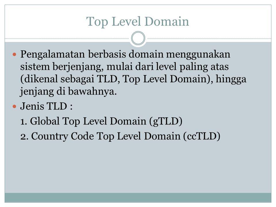 Top Level Domain gTLD : TLD yang umum dipakai Contoh : 1..com 2..net ccTLD : TLD lokal yang mencakup suatu negara tertentu Contoh : Inggris ->.uk Malaysia ->.my India ->.in