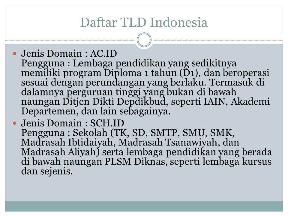Daftar TLD Indonesia Jenis Domain : AC.ID Pengguna : Lembaga pendidikan yang sedikitnya memiliki program Diploma 1 tahun (D1), dan beroperasi sesuai dengan perundangan yang berlaku.