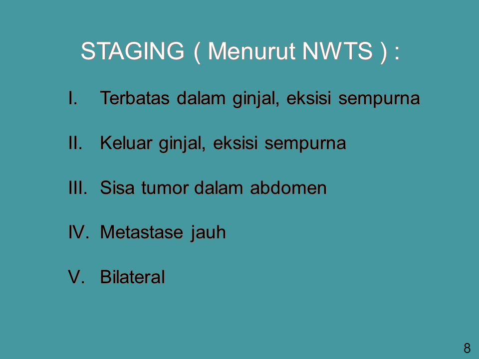 STAGING ( Menurut NWTS ) : I.Terbatas dalam ginjal, eksisi sempurna II.Keluar ginjal, eksisi sempurna III.Sisa tumor dalam abdomen IV.Metastase jauh V