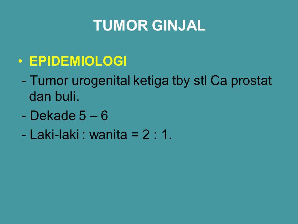 TUMOR GINJAL EPIDEMIOLOGI - Tumor urogenital ketiga tby stl Ca prostat dan buli. - Dekade 5 – 6 - Laki-laki : wanita = 2 : 1.