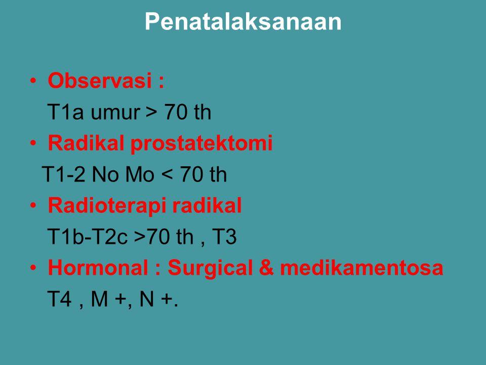 Penatalaksanaan Observasi : T1a umur > 70 th Radikal prostatektomi T1-2 No Mo < 70 th Radioterapi radikal T1b-T2c >70 th, T3 Hormonal : Surgical & med