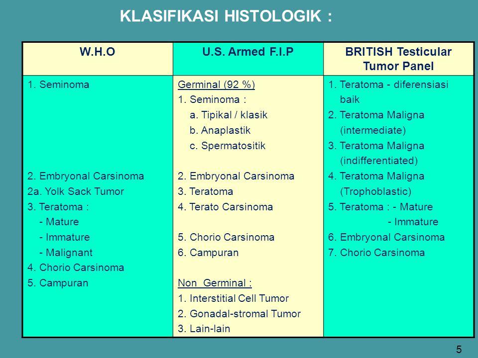 KLASIFIKASI HISTOLOGIK : W.H.OU.S. Armed F.I.PBRITISH Testicular Tumor Panel 1. Seminoma 2. Embryonal Carsinoma 2a. Yolk Sack Tumor 3. Teratoma : - Ma