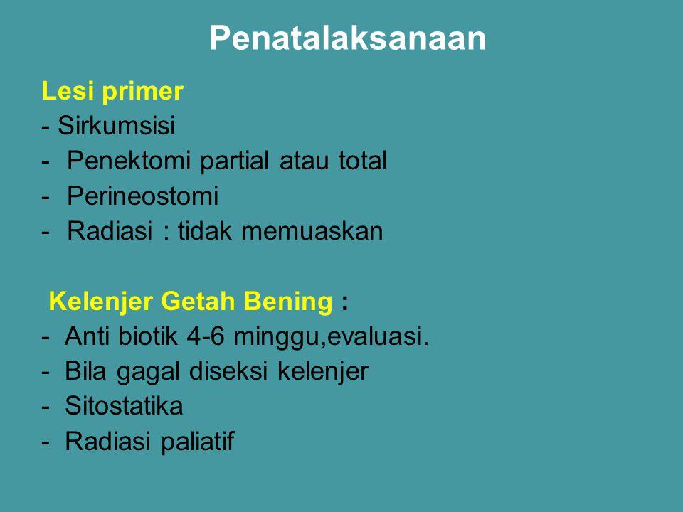 Penatalaksanaan Lesi primer - Sirkumsisi -Penektomi partial atau total -Perineostomi -Radiasi : tidak memuaskan Kelenjer Getah Bening : - Anti biotik