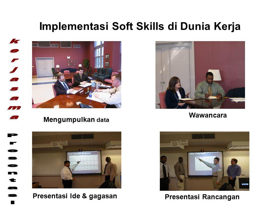 Implementasi Soft Skills di Dunia Kerja Mengumpulkan data Wawancara Presentasi Ide & gagasan Presentasi Rancangan