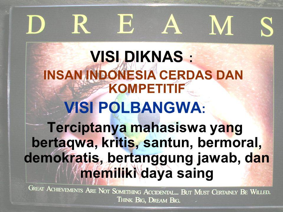 VISI DIKNAS : INSAN INDONESIA CERDAS DAN KOMPETITIF VISI POLBANGWA : Terciptanya mahasiswa yang bertaqwa, kritis, santun, bermoral, demokratis, bertanggung jawab, dan memiliki daya saing