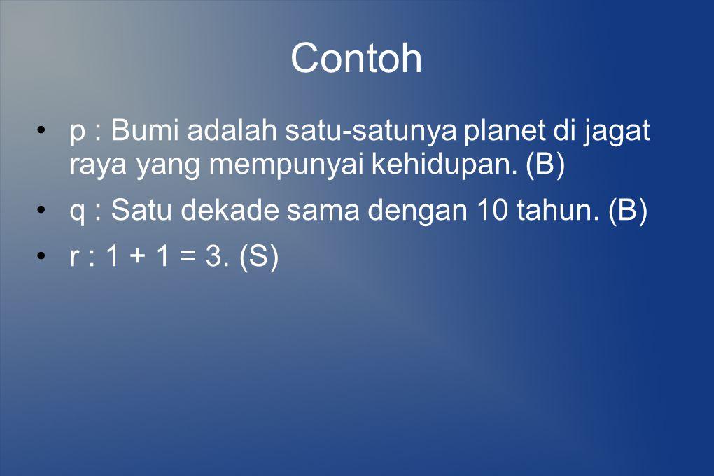 Contoh p : Bumi adalah satu-satunya planet di jagat raya yang mempunyai kehidupan. (B) q : Satu dekade sama dengan 10 tahun. (B) r : 1 + 1 = 3. (S)