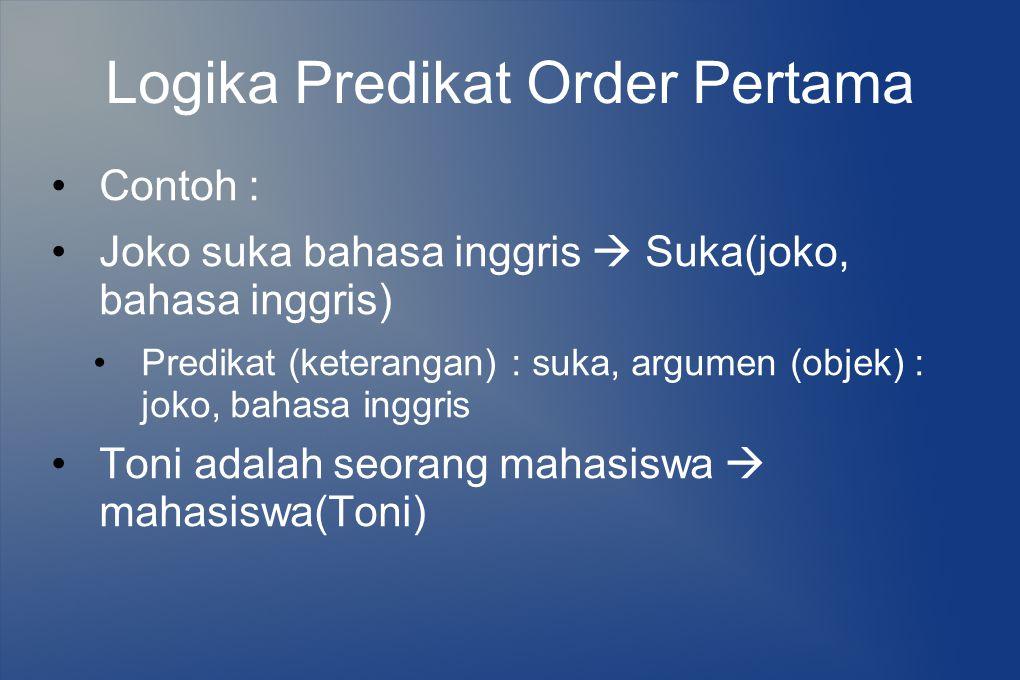 Logika Predikat Order Pertama Contoh : Joko suka bahasa inggris  Suka(joko, bahasa inggris) Predikat (keterangan) : suka, argumen (objek) : joko, bah