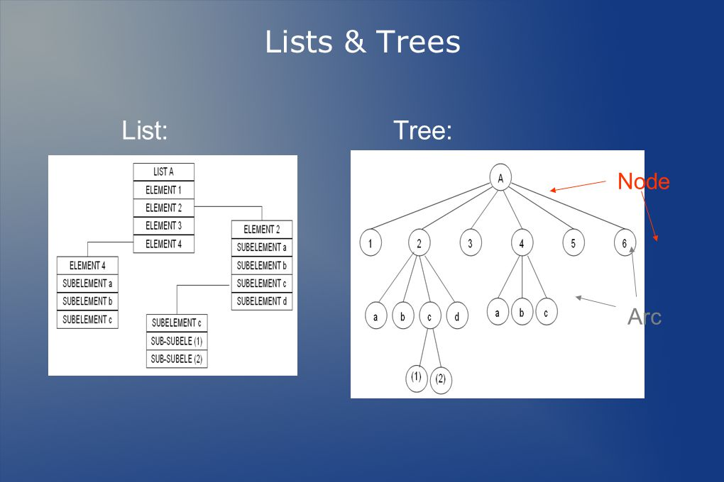 Lists & Trees List:Tree: Node Arc