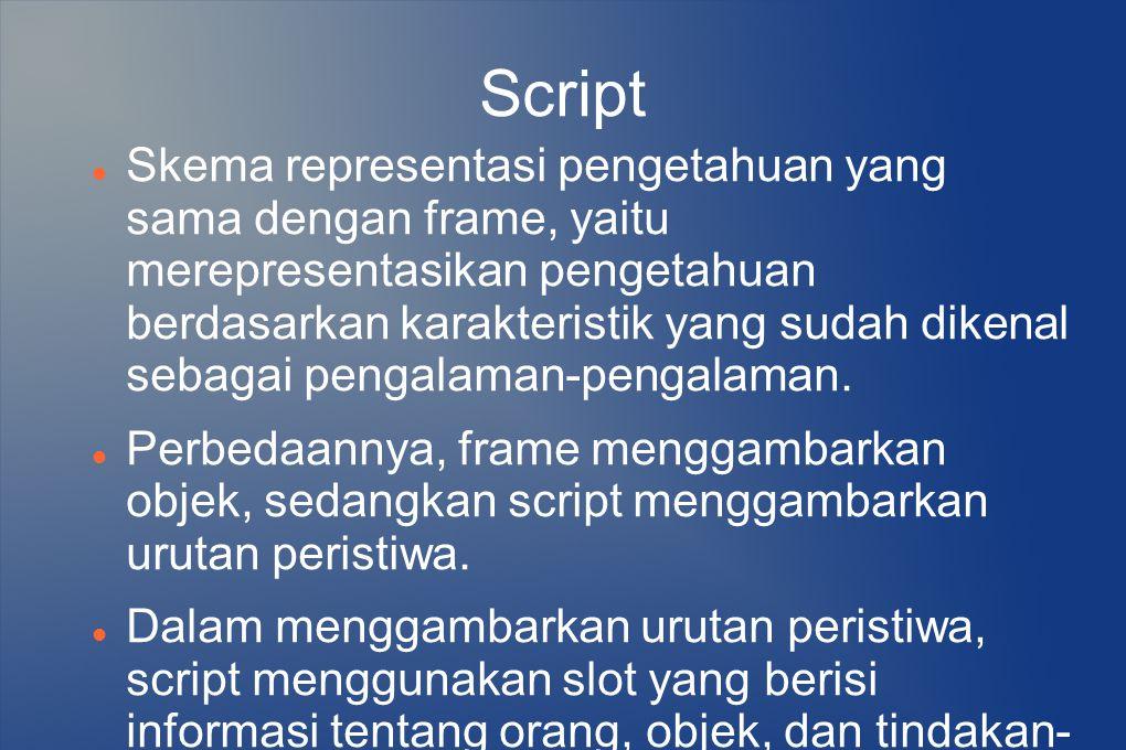 Script Skema representasi pengetahuan yang sama dengan frame, yaitu merepresentasikan pengetahuan berdasarkan karakteristik yang sudah dikenal sebagai