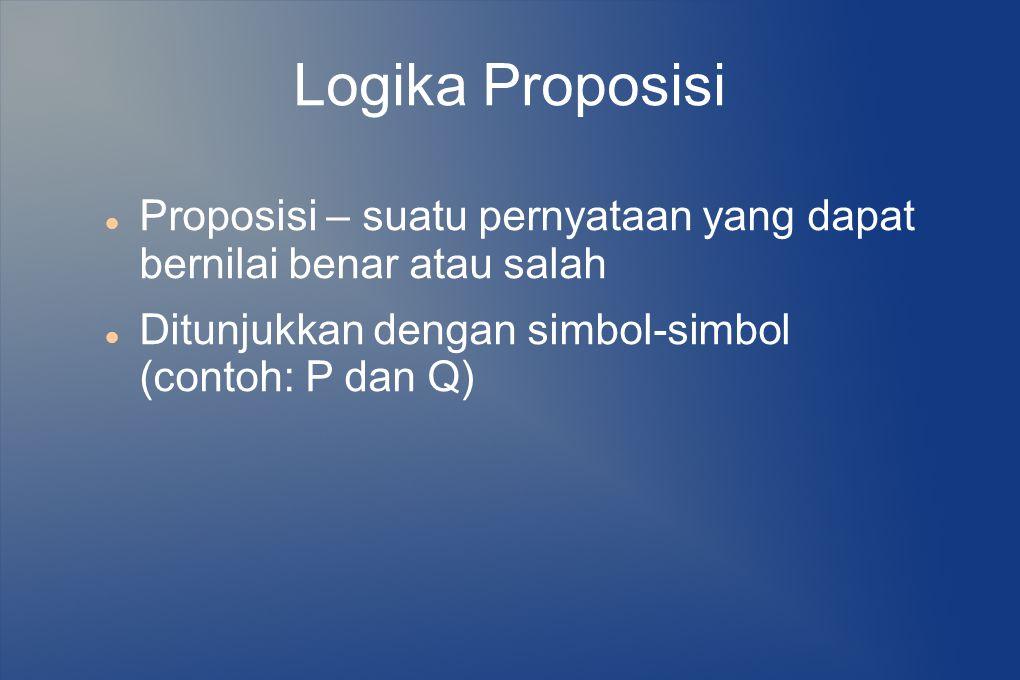Logika Proposisi Penggabungan proposisi memakai operator logika :  Konjungsi : Λ (and)  Disjungsi : V (or)  Negasi : ¬ (not)  Implikasi : → (if then)  Ekuivalensi : ↔ (if and only if)