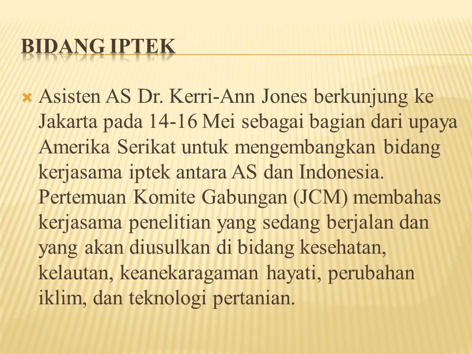  Jones juga menyoroti tujuh pemenang yang mendapatkan bantuan dana sebesar hampir USD 800.000 dari Kemitraan untuk Peningkatan Kerjasama di Bidang Penelitian (PEER) yang disponsori oleh USAID yang mana dana ini akan dipergunakan untuk membantu pelestarian keanekaragaman hayati kelautan dan melindungi lingkungan hidup di Indonesia.