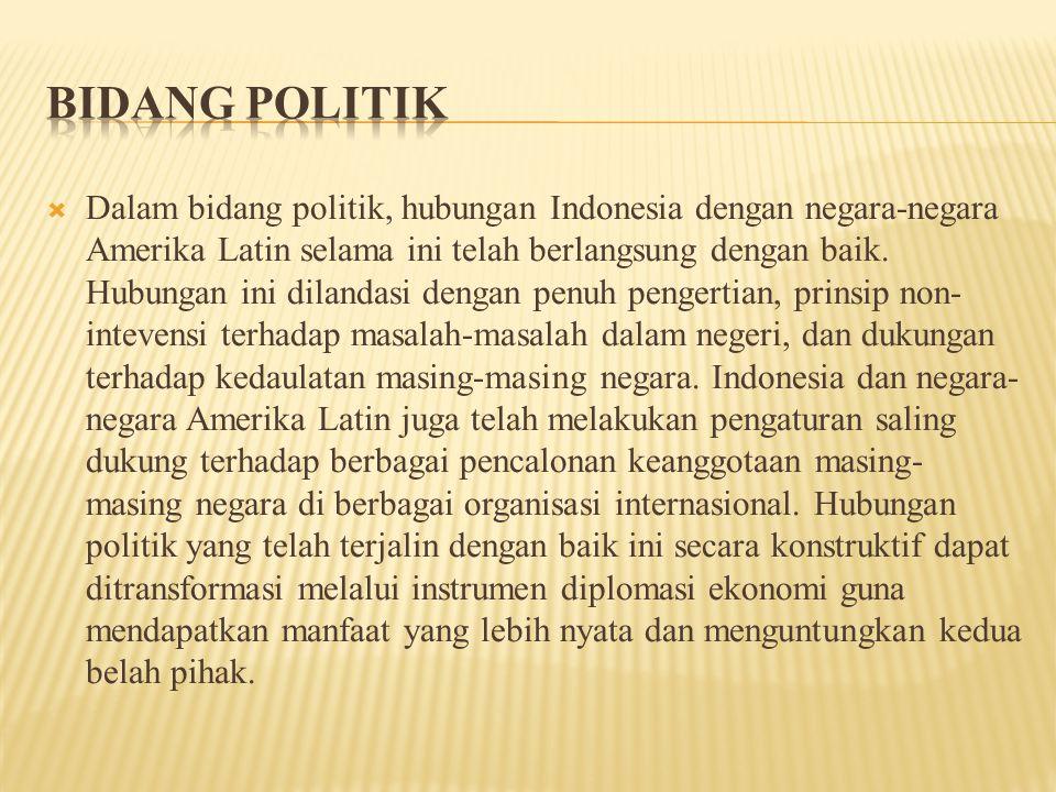  Dalam bidang politik, hubungan Indonesia dengan negara-negara Amerika Latin selama ini telah berlangsung dengan baik.