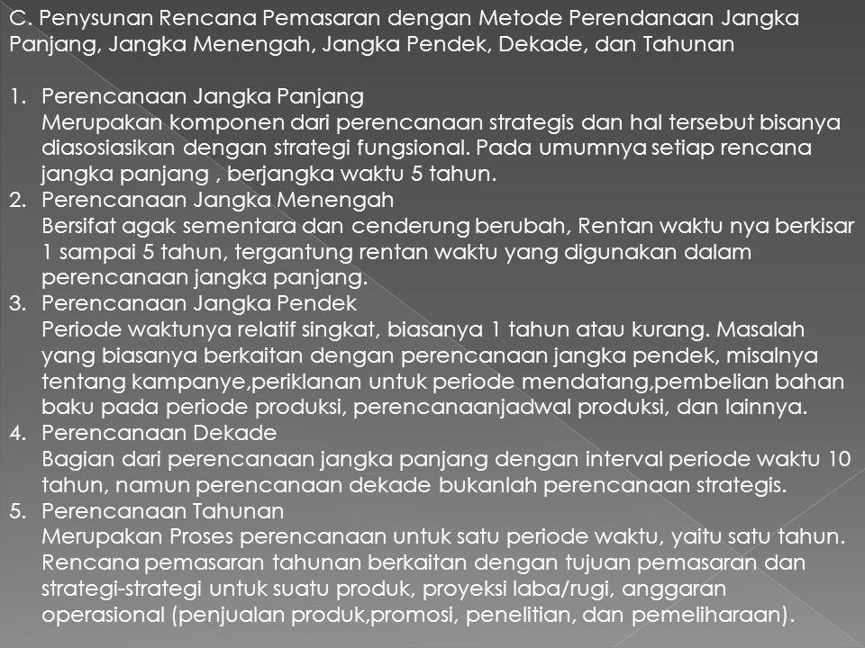 C. Penysunan Rencana Pemasaran dengan Metode Perendanaan Jangka Panjang, Jangka Menengah, Jangka Pendek, Dekade, dan Tahunan 1.Perencanaan Jangka Panj