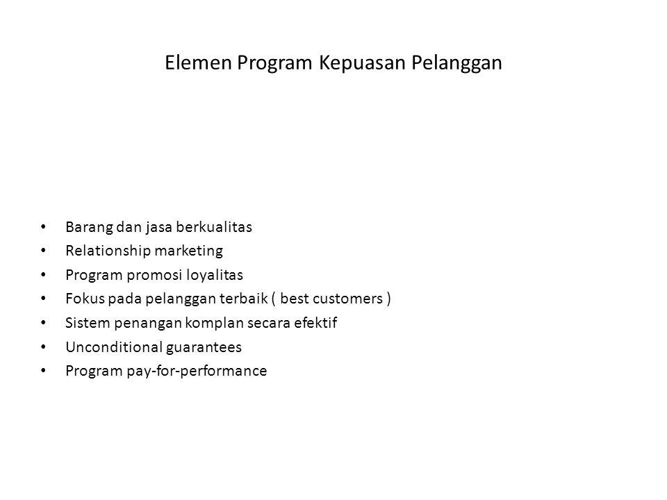 Elemen Program Kepuasan Pelanggan Barang dan jasa berkualitas Relationship marketing Program promosi loyalitas Fokus pada pelanggan terbaik ( best cus