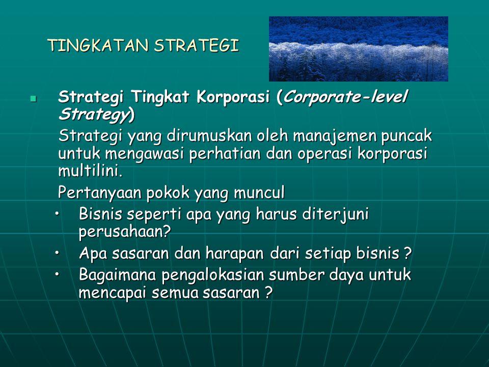 TINGKATAN STRATEGI Strategi Tingkat Korporasi (Corporate-level Strategy) Strategi Tingkat Korporasi (Corporate-level Strategy) Strategi yang dirumuskan oleh manajemen puncak untuk mengawasi perhatian dan operasi korporasi multilini.