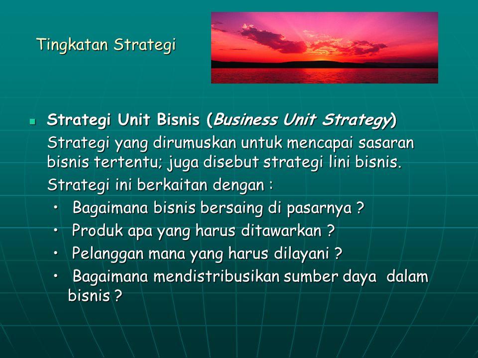 Tingkatan Strategi Strategi Unit Bisnis (Business Unit Strategy) Strategi Unit Bisnis (Business Unit Strategy) Strategi yang dirumuskan untuk mencapai sasaran bisnis tertentu; juga disebut strategi lini bisnis.