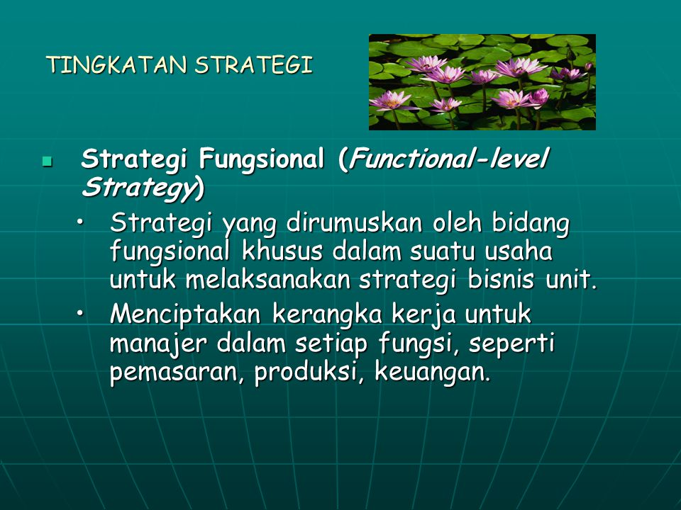 TINGKATAN STRATEGI Strategi Fungsional (Functional-level Strategy) Strategi Fungsional (Functional-level Strategy) Strategi yang dirumuskan oleh bidang fungsional khusus dalam suatu usaha untuk melaksanakan strategi bisnis unit.Strategi yang dirumuskan oleh bidang fungsional khusus dalam suatu usaha untuk melaksanakan strategi bisnis unit.