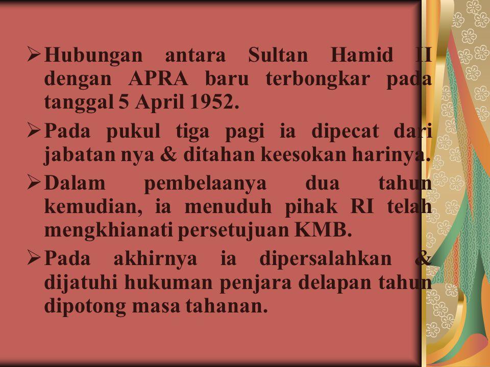  Hubungan antara Sultan Hamid II dengan APRA baru terbongkar pada tanggal 5 April 1952.  Pada pukul tiga pagi ia dipecat dari jabatan nya & ditahan