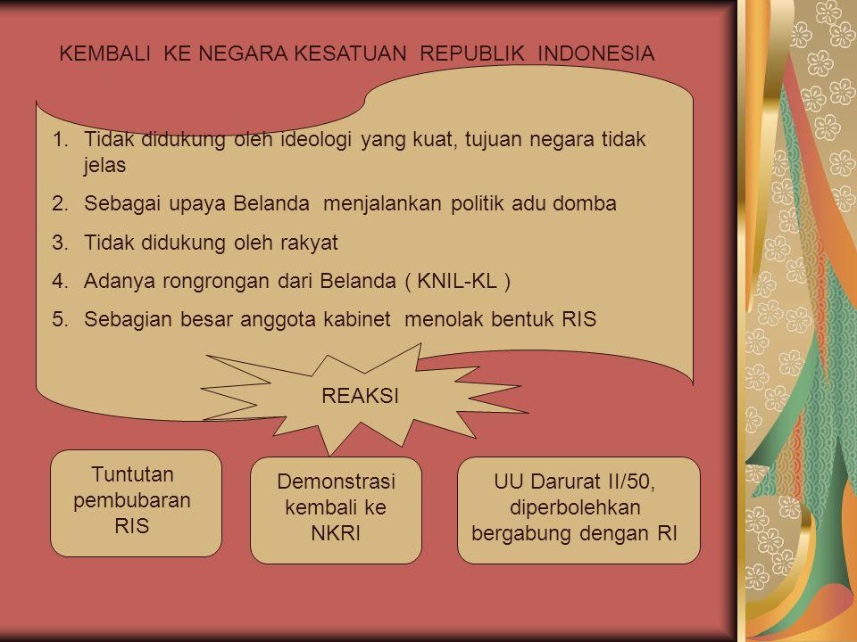 KEMBALI KE NEGARA KESATUAN REPUBLIK INDONESIA 1.Tidak didukung oleh ideologi yang kuat, tujuan negara tidak jelas 2.Sebagai upaya Belanda menjalankan
