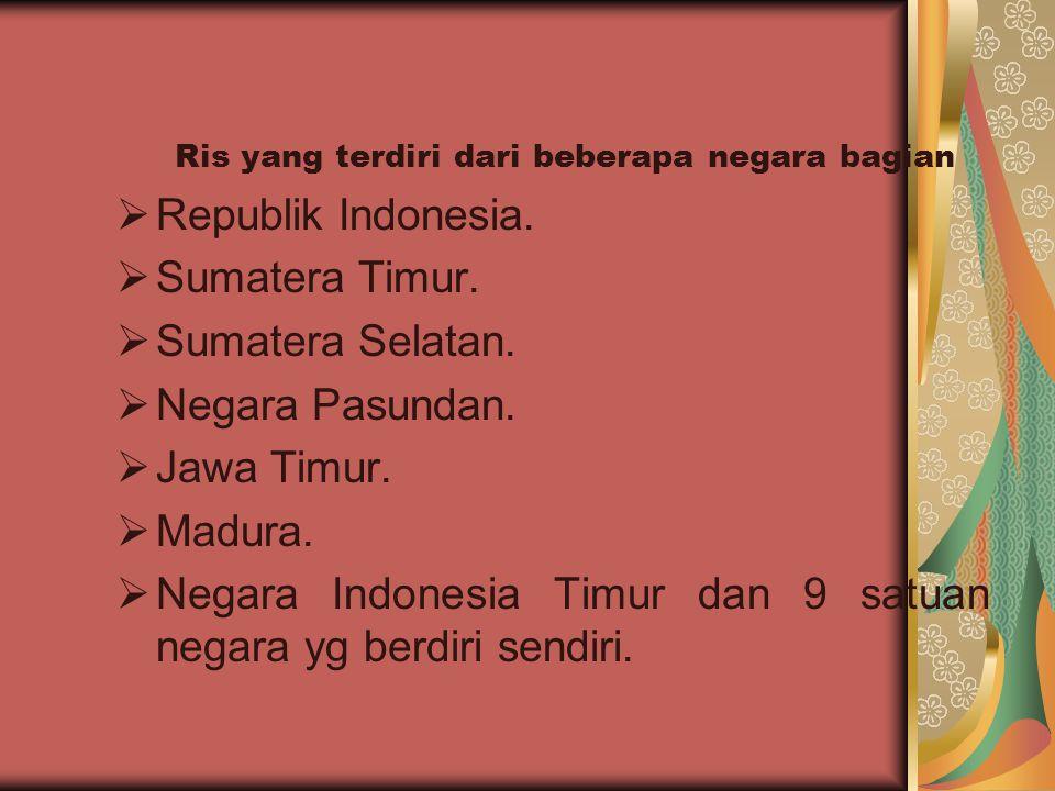 Ris yang terdiri dari beberapa negara bagian  Republik Indonesia.  Sumatera Timur.  Sumatera Selatan.  Negara Pasundan.  Jawa Timur.  Madura. 