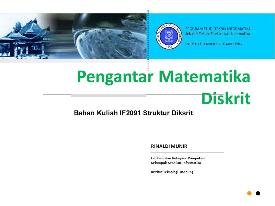 12 Topik bahasan di dalam Matematika Diskrit: Logika (logic) dan penalaran  Teori Himpunan (set)  Matriks (matrice)  Relasi dan Fungsi (relation and function)  Induksi Matematik (mathematical induction)  Algoritma (algorithms) Teori Bilangan Bulat (integers)  Barisan dan Deret (sequences and series) Teori Grup dan Ring (group and ring) Aljabar Boolean (Boolean algebra) Kombinatorial (combinatorics)  Teori Peluang Diskrit (discrete probability) Fungsi Pembangkit dan Analisis Rekurens Teori Graf (graph – included tree)  Kompleksitas Algoritma (algorithm complexity)  Otomata & Teori Bahasa Formal (automata and formal language theory)