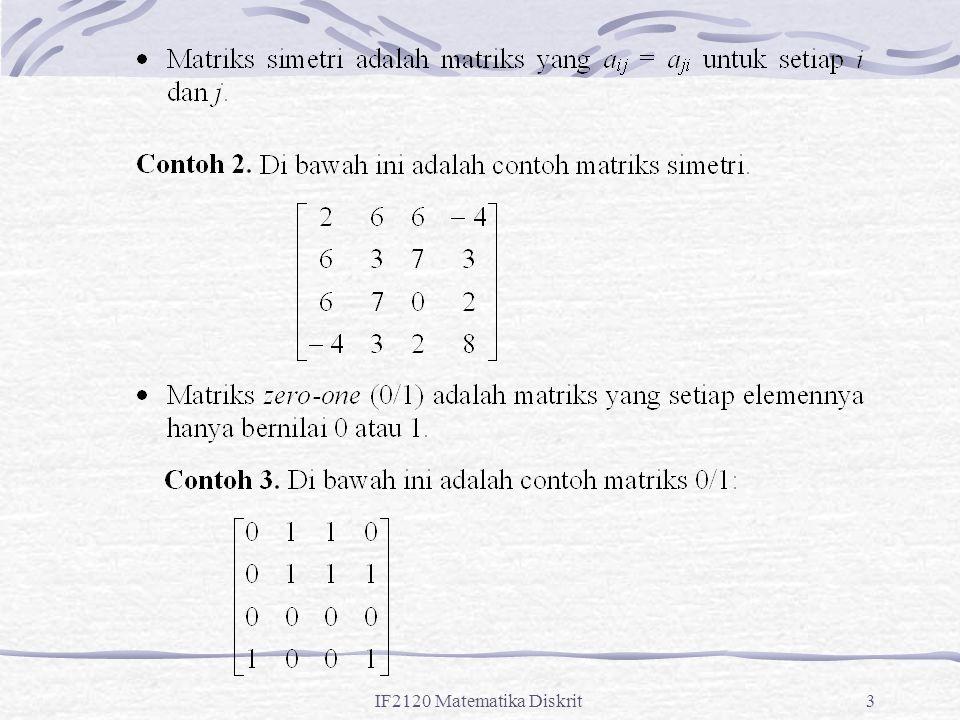 IF2120 Matematika Diskrit84 Contoh 2: Relasi R = {(1, 3), (1, 2), (2, 1), (3, 2), (3, 3)} pada himpunan A = {1, 2, 3} tidak setangkup.