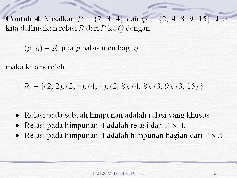 IF2120 Matematika Diskrit87 Klosur Refleksif Misalkan R adalah sebuah relasi pada himpunan A.