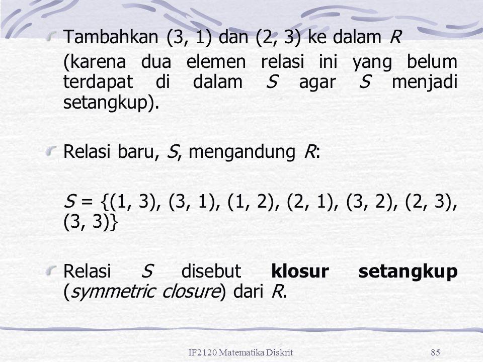IF2120 Matematika Diskrit85 Tambahkan (3, 1) dan (2, 3) ke dalam R (karena dua elemen relasi ini yang belum terdapat di dalam S agar S menjadi setangkup).