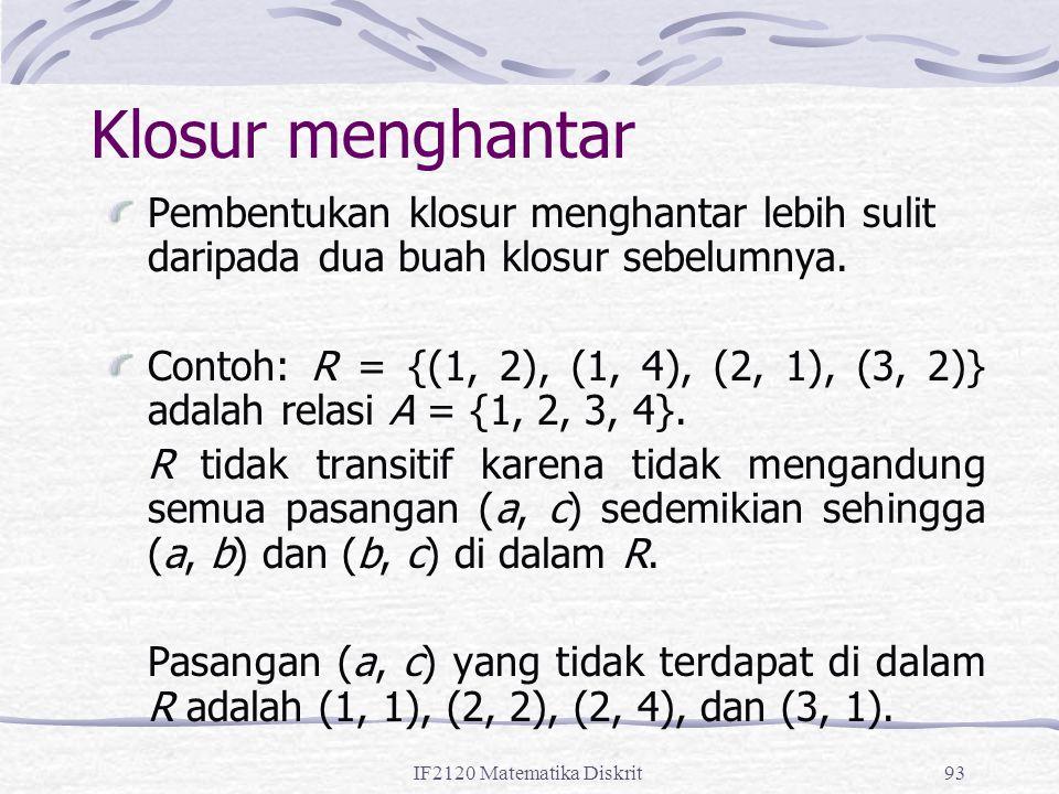 IF2120 Matematika Diskrit93 Klosur menghantar Pembentukan klosur menghantar lebih sulit daripada dua buah klosur sebelumnya. Contoh: R = {(1, 2), (1,