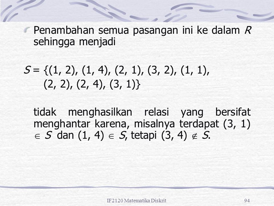 IF2120 Matematika Diskrit94 Penambahan semua pasangan ini ke dalam R sehingga menjadi S = {(1, 2), (1, 4), (2, 1), (3, 2), (1, 1), (2, 2), (2, 4), (3, 1)} tidak menghasilkan relasi yang bersifat menghantar karena, misalnya terdapat (3, 1)  S dan (1, 4)  S, tetapi (3, 4)  S.