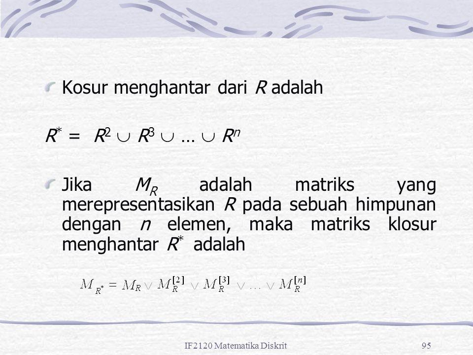 IF2120 Matematika Diskrit95 Kosur menghantar dari R adalah R * = R 2  R 3  …  R n Jika M R adalah matriks yang merepresentasikan R pada sebuah himpunan dengan n elemen, maka matriks klosur menghantar R * adalah