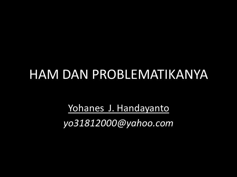 HAM DAN PROBLEMATIKANYA Yohanes J. Handayanto yo31812000@yahoo.com