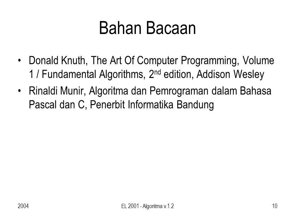 2004EL 2001 - Algoritma v.1.210 Bahan Bacaan Donald Knuth, The Art Of Computer Programming, Volume 1 / Fundamental Algorithms, 2 nd edition, Addison Wesley Rinaldi Munir, Algoritma dan Pemrograman dalam Bahasa Pascal dan C, Penerbit Informatika Bandung