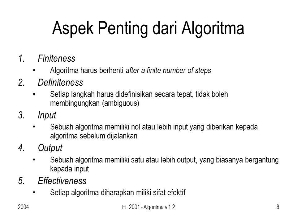 2004EL 2001 - Algoritma v.1.29 Tugas Buat algoritma untuk –Mengurutkan bilangan ( sorting ) untuk n buah data (misalnya data nilai mahasiswa) –Tower of hanoi –…