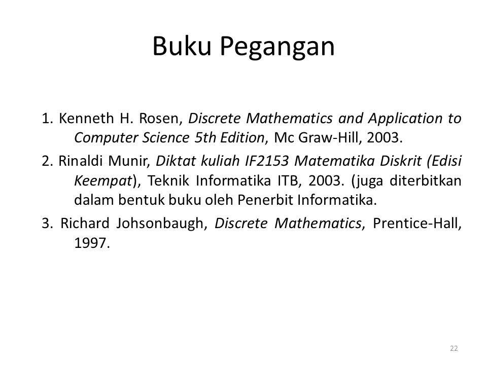 22 Buku Pegangan 1. Kenneth H. Rosen, Discrete Mathematics and Application to Computer Science 5th Edition, Mc Graw-Hill, 2003. 2. Rinaldi Munir, Dikt
