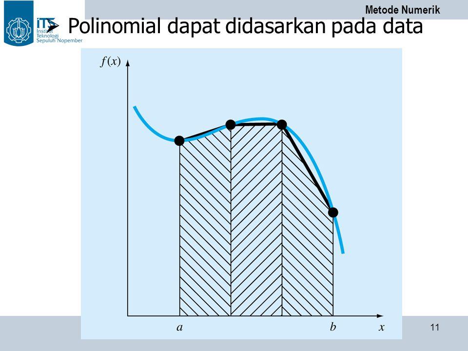 Metode Numerik PENS-ITS 11  Polinomial dapat didasarkan pada data