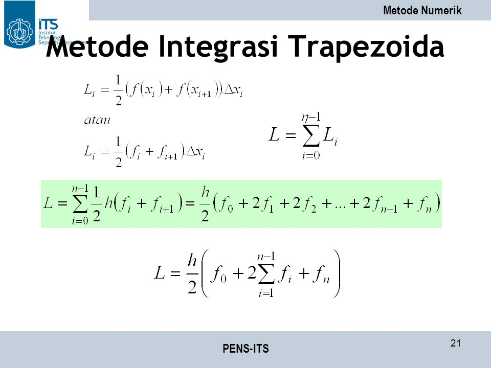 Metode Numerik PENS-ITS 21 Metode Integrasi Trapezoida
