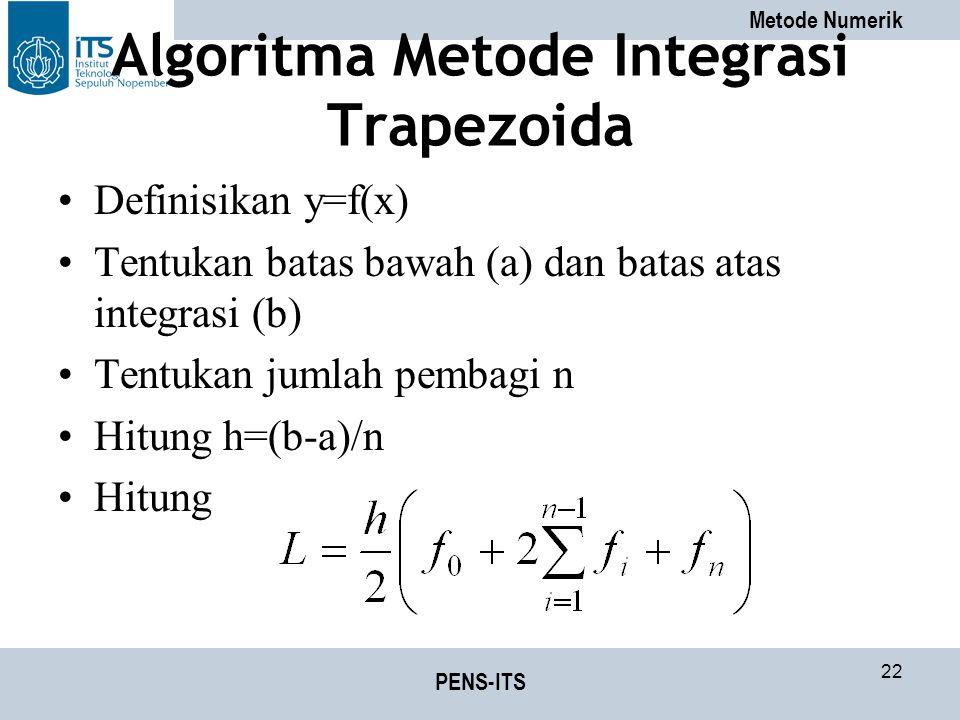 Metode Numerik PENS-ITS 22 Algoritma Metode Integrasi Trapezoida Definisikan y=f(x) Tentukan batas bawah (a) dan batas atas integrasi (b) Tentukan jumlah pembagi n Hitung h=(b-a)/n Hitung