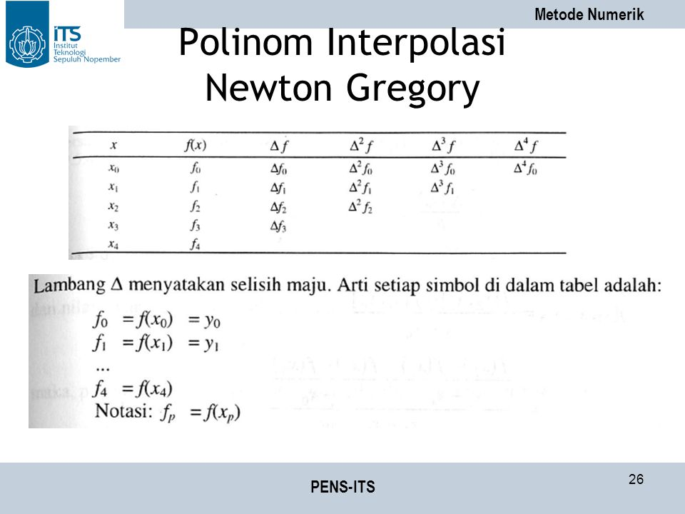 Metode Numerik PENS-ITS 26 Polinom Interpolasi Newton Gregory