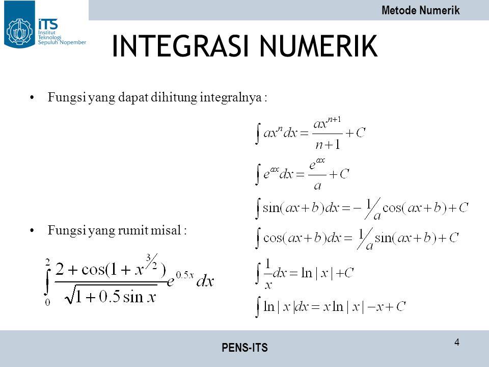 Metode Numerik PENS-ITS 35 Latihan Soal Hitung Integral dengan menggunakan –Integral Reimann –Integrasi Trapezoida –Integrasi Simpson 1/3 dan 3/8