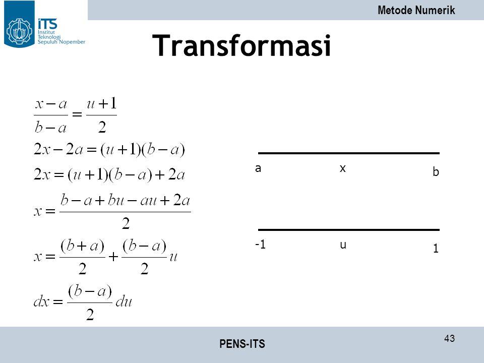 Metode Numerik PENS-ITS 43 Transformasi a b x 1 u