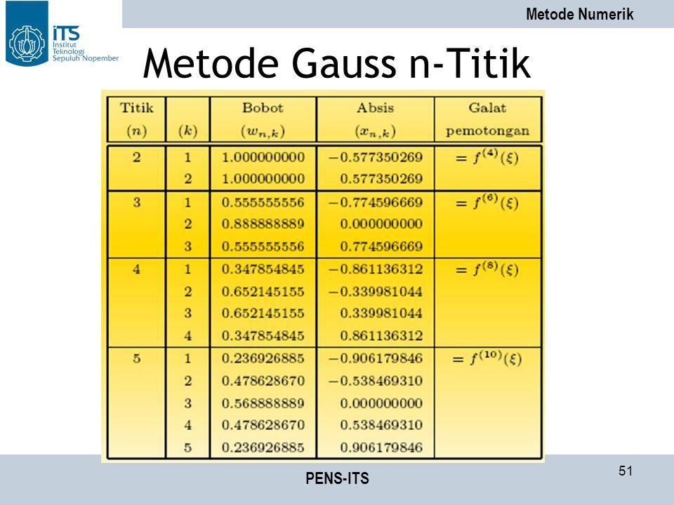 Metode Numerik PENS-ITS 51 Metode Gauss n-Titik