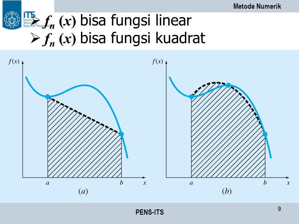 Metode Numerik PENS-ITS 50 Algoritma Metode Integrasi Gauss dengan Pendekatan 3 Titik (1)Definisikan fungsi f(x) (2)Tentukan batas bawah (a) dan batas atas (b) (3)Hitung nilai konversi variabel : (4)Tentukan fungsi f(u) : (5)Hitung:
