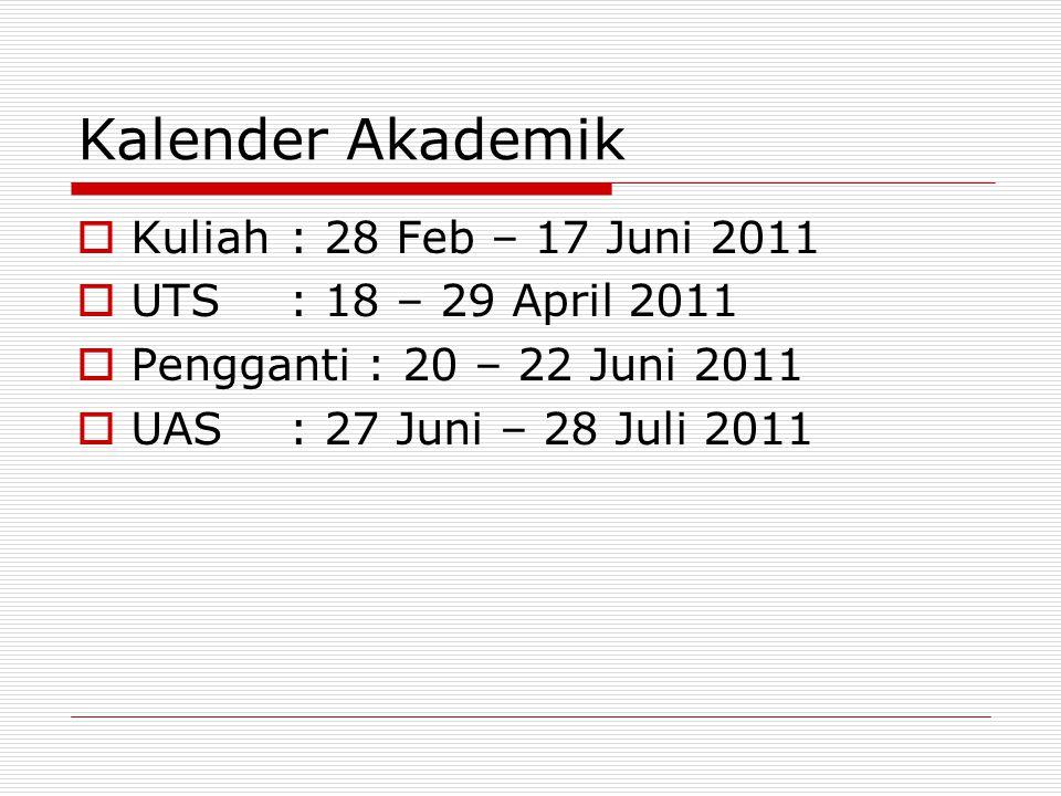 Kalender Akademik  Kuliah: 28 Feb – 17 Juni 2011  UTS: 18 – 29 April 2011  Pengganti : 20 – 22 Juni 2011  UAS: 27 Juni – 28 Juli 2011