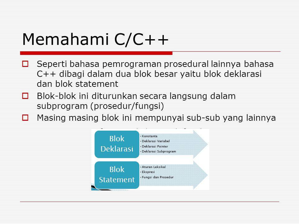 Memahami C/C++  Seperti bahasa pemrograman prosedural lainnya bahasa C++ dibagi dalam dua blok besar yaitu blok deklarasi dan blok statement  Blok-b