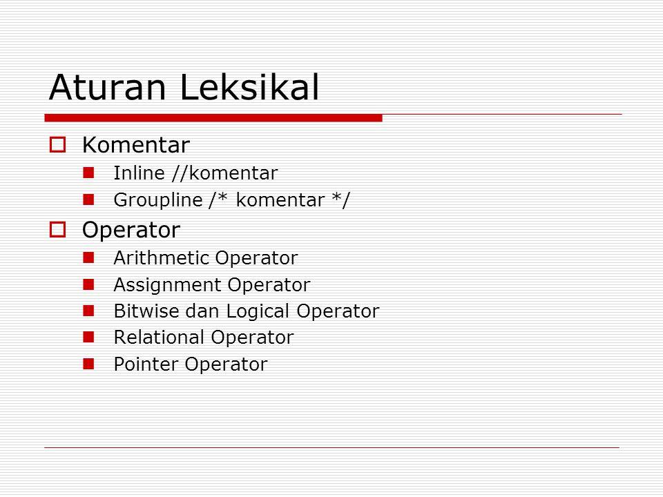 Aturan Leksikal  Komentar Inline //komentar Groupline /* komentar */  Operator Arithmetic Operator Assignment Operator Bitwise dan Logical Operator