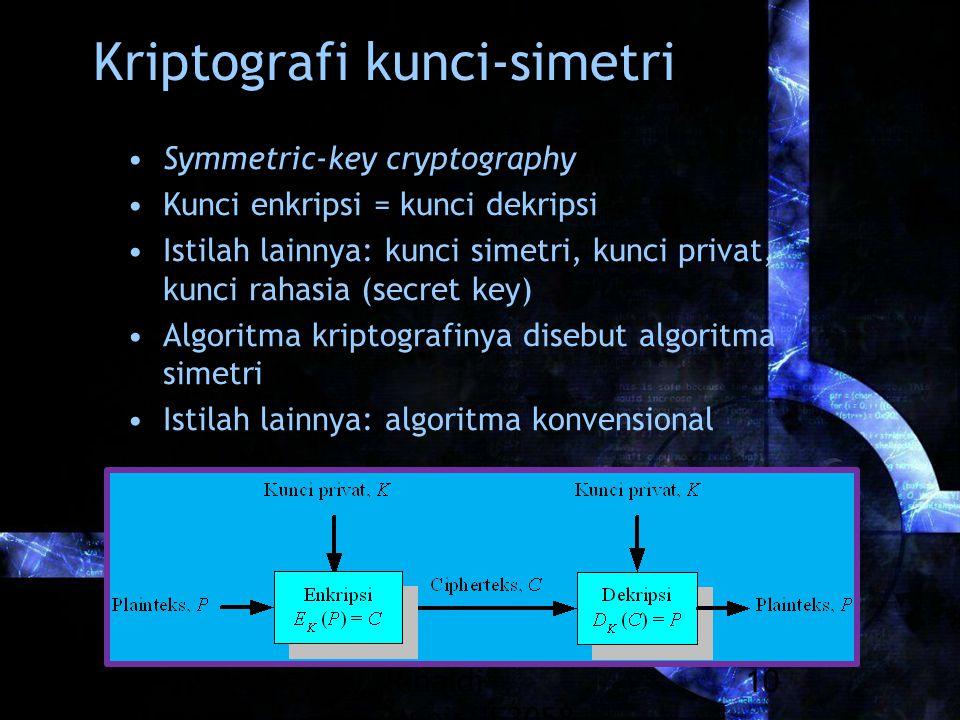 Rinaldi Munir/IF3058 Kriptografi 10 Kriptografi kunci-simetri Symmetric-key cryptography Kunci enkripsi = kunci dekripsi Istilah lainnya: kunci simetr