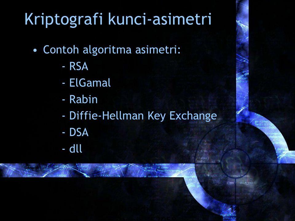 Rinaldi Munir/IF3058 Kriptografi 14 Kriptografi kunci-asimetri Contoh algoritma asimetri: - RSA - ElGamal - Rabin - Diffie-Hellman Key Exchange - DSA - dll