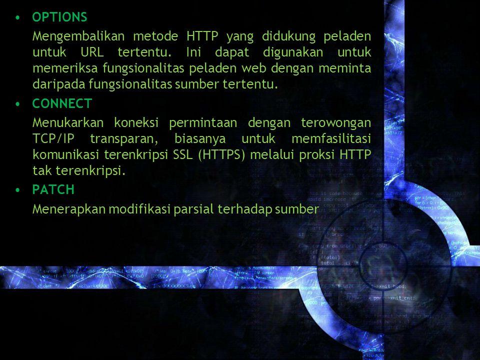 OPTIONS Mengembalikan metode HTTP yang didukung peladen untuk URL tertentu.